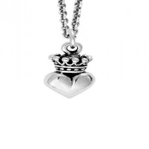 King Baby: Sterling Silver Chain Name: Micro Crowned Pendant On Micro Rolo Length: 18