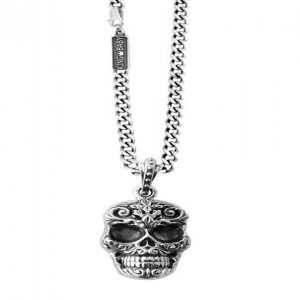 King Baby: Baroque Skull Pendant On Curb Link Sterling Silver Chain Length: 24