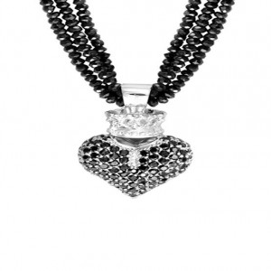 King Baby: Black Spinel Necklace W/Black 3D Pave Cz Crowned Heart Sterling Silver Clasp Length: 18