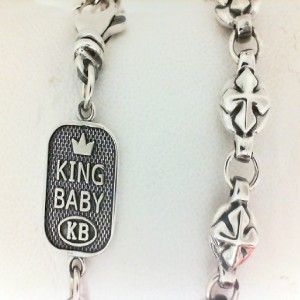 King Baby: Round Cross Link Chain 24 Sterling Silver Necklace