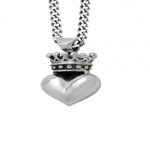 King Baby: Sterling Silver 3D Crowned Heart Pendant On 18 Chain