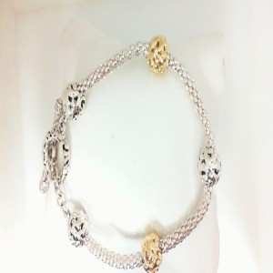 Two-Tone Sterling & & 18Ky Micron Plated Bracelet