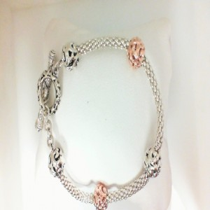 Two-Tone Sterling & & 18KP Micron Plated Bracelet