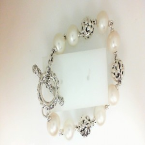 Sterling Silver Bracelet With 8=11.00Mm Round Freshwater Pearls Length: 8 3@11MM IVY BEAD