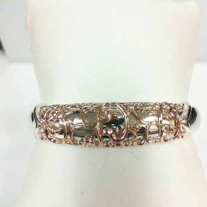 White/Rose Sterling Silver & 18Kr Filigree Cuff Bracelet Name: Ivy Lace Cuff Diameter: 9.5mm