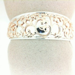 Sterling Silver & 18KR Cuff Bracelet Name: IVY LACE CUFF Diameter: 30MM