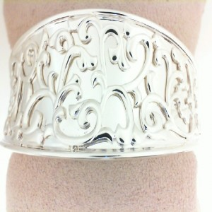 Sterling Silver 30 MM Ivy Lace cuff Bracelet