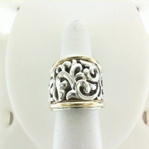 Two-Tone Sterling Silver & 18Ky Filigree Ring Size 6.5 Diameter: 16mm