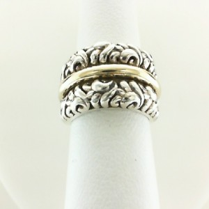 Two-Tone Sterling Silver & 18Ky Ring Diameter: 10.5mm