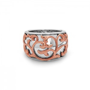 Sterling Silver & 18KR Filigree Ring Size 6.5 Diameter: 15-9mm Name: Ivy Lace