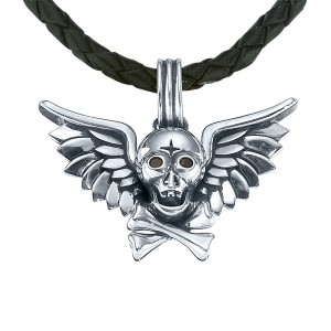 Sterling Silver Pendant With 2=0.08Tw Round Diamonds Charm Type: Skull Crossbones And Angel Wings Pendant On Black Woven Leather Cord Length: 22