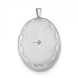 Sterling Silver Oval Locket Pendant Diamond Accent On 22 Chain