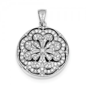 Sterling Silver Pendant Charm Type: Cubic Zirconia Locket Chain Type: Cable Link Metal: Sterling Silver Length: 22