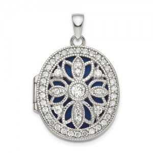 Sterling Silver Cubic Zirconia Locket Pendant On 22 Chain