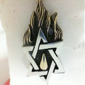 King Baby: Sterling Silver Pendant Star Of David With Gold Alloy Flames Length: 24