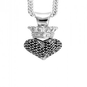 King Baby: 3D Crowned Heart Black Pave Cz Heart On 18 Chain