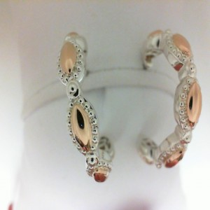 Firefly White/Rose Sterling Silver & 18KtRose Hoop Earrings With 14 Karat Post