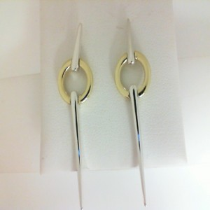 Two-Tone Sterling Silver & 18Ky Drop Earrings Name: CIRCULAR SPEAR EARRING