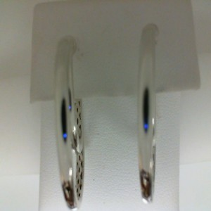 White Sterling Silver & 14Kw Medium Hoop Earrings