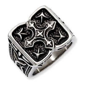 Gent S Stainless Steel Engraved Ring Size 9 Style Name: Antiqued Cross Ring