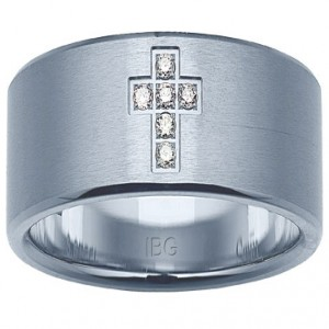 Stainless Steel Gents Ring Size 10 With 6=0.06Tw Round Diamonds