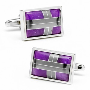Purple Cats Eye and Hematite Cross Roads Cufflinks