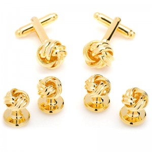 Gold Plated Knot Stud/Cufflink Set