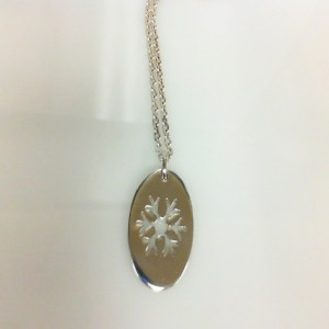 White Sterling Silver Cable Link Chain Length: 24 Name: Snowflake Pendant