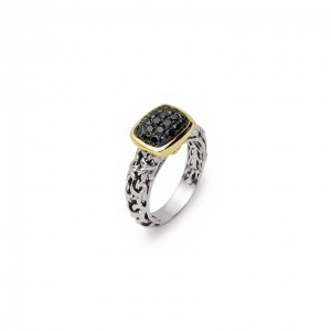 Two-Tone Sterling Silver & 14Ky Fashion Ring With 24=0.65Tw Round Black Diamonds Ring Size: 6.5