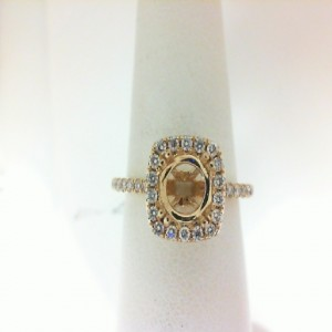Yellow 14 Karat Semi Ring With 40=0.33Tw Round Diamonds