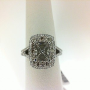 White 14 Karat Ring With 16=0.22Tw Round Champagne Diamonds And 156=0.45Tw Round Diamonds