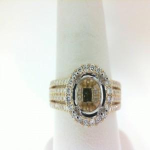 Two-Tone 14 Karat Semi Ring Size 6.5 With 128=0.75Tw Round Diamonds