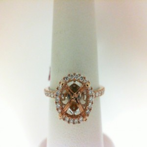 White/Rose 18 Karat Semi Ring With 50=0.35Tw Round Diamonds