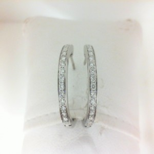 White 14 Karat Medium Secure Hoop Earrings With 30=0.37Tw Round Diamonds