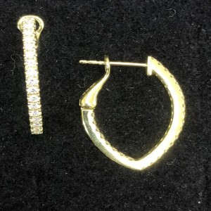 Yellow 18 Karat Earrings With 50=0.66Tw Round F/G Si1-2 Diamonds Style Name: V HOOP