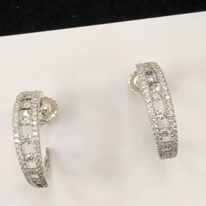 White 18 Karat Earrings With 140=0.95Tw Round F/G Si1-2 Diamonds Style Name: PRECIOUS PASTEL EARRING