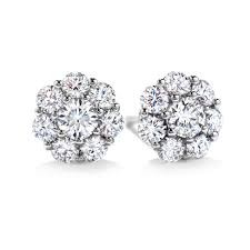 White 18 Karat Diamond Beloved Earrings With 16=1.08Tw Hearts On Fire Round G/H Vs-Si Diamonds