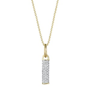 Phillips House: Yellow 14 Karat Pendant With 47=0.36Tw Round Diamonds Name: Bar Drop Necklace Chain: Bead Metal: 14 Karat Color: Yellow Length: 18