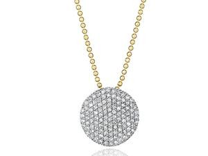 Phillips House: 14 Karat Pendant With 110=0.57Tw Round Diamonds Name: Infinity Pendant Chain: Bead Metal: 14 Karat Color: Yellow Length: 18
