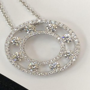 White 18 Karat Pendant With 122=1.22Tw Round F/G Si1-2 Diamonds Name: PRECIOUS PATEL Chain: 1MM Cable Link Metal: 18 Karat