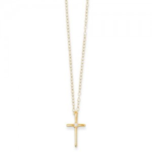 Yellow 14 Karat Pendant With One 0.01Ct Round Diamond Name: Diamond Cross Metal: 14 Karat Length: 15