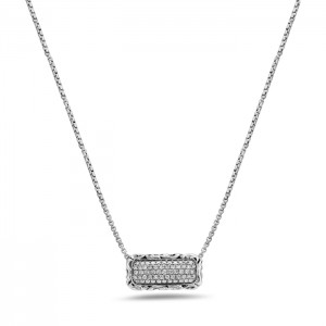 Sterling Silver Necklace With 57=0.63Tw Round Diamonds Name: Ivy Rectangle 22X10 Chain: Box Metal: Sterling Silver
