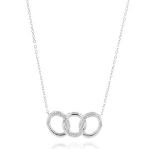 Phillips House: White 14 Karat Triple Link Necklace With 51=0.19Tw Round Diamonds
