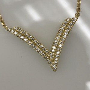 Yellow 18 Karat Necklace With 56=.39 Round F/G Si1-2 Diamonds Name:Precious Pastel Collection diamond V Length: 18 in adjustable
