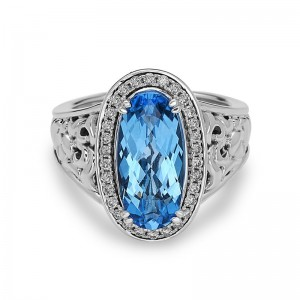 Sterling Silver Fashion Ring With 30=0.27Tw Round Diamonds And One 15.00X7.00Mm Oval Swiss Blue Topaz EVE COLLECTION