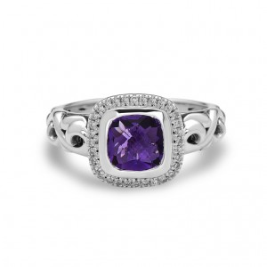 Sterling Silver Fashion Ring With One 7.00X7.00Mm Cushion Amethyst And 32=0.12Tw Round Diamonds Name: Ellah Ring Size: 6.5