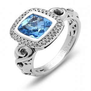 Sterling Silver Fashion Ring With One 7.00X7.00Mm Cushion Cut Blue Topaz And 32=0.12Tw Round Diamonds Name: Ellah- Blue Topaz Ring Size: 6.5