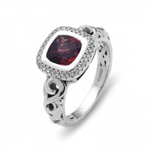 Sterling Silver Fashion Ring With One 7.00X7.00Mm Cushion Cut Garnet And 32=0.12Tw Round K/L SI3-I1 Diamonds Ring Size: 6.5
