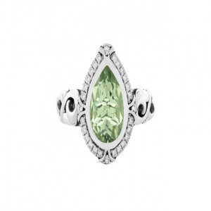 Sterling Silver Fashion Ring With One 10.00X7.00Mm Pear Mint Quartz And 28=0.17Tw Round K/L SI3-I1 Diamonds