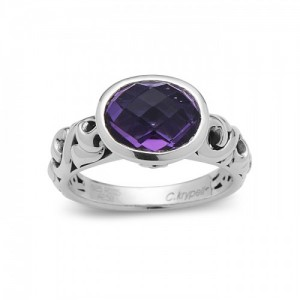 Sterling Silver Filigree Fashion Ring With One 12.00X10.00Mm Oval Amethyst And 2=0.05Tw Round Rubys Name: Dylani Collection- Amethyst Ring Size: 6.5